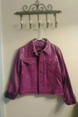 Finity Studio 100% genuine leather jacket womens purple