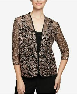 $150 ALEX EVENINGS WOMEN'S BLACK BROWN FLORAL EMBROIDERED FO