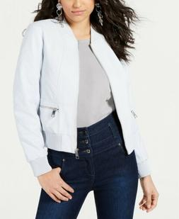 $98 GUESS WOMENS BLUE FAUX LEATHER OUTERWEAR ZIPPERED BOMBER
