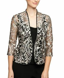 $99 ALEX EVENING WOMEN BLACK BEIGE FLORAL EMBROIDERED MESH F