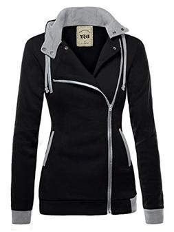 DJT Womens Oblique Zipper Slim Fit Hoodie Jacket Large Black