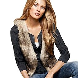 Dikoaina Fashion Women Faux Fur Waistcoat Short Vest Jacket
