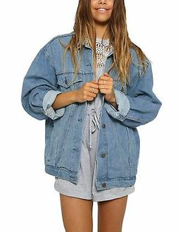 Eliacher Women's Boyfriend Denim Jacket Long Sleeve Loose Je