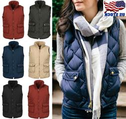Plus Size Women Puffer Padded Vest Jacket Gilet Ladies Sleev