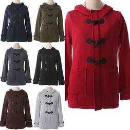 Plus Size Womens Winter Button Hoodies Coat Jacket Hooded Ov