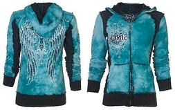 SINFUL by AFFLICTION Womens Hoodie Sweatshirt ZIP UP Jacket