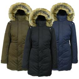 Womens Heavyweight Long Parka Jacket W/ Fur Hood Coat Warm W