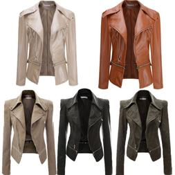 Womens PU Leather Jacket Biker Motorcycle Zip Up Cropped Bla