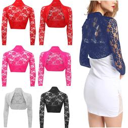 Womens Sheer Lace Long Sleeve Bolero Shrug Cropped Cardigan