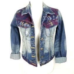 ADL Artisan De Luxe Boho Denim Jacket Size Small Jean Button