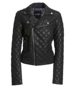 AEROPOSTALE AERO Womens Quilted Faux Leather Jacket Coat L L