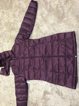 Amazon Essentials Womens Puffer Jacket Burgundy Long Size L