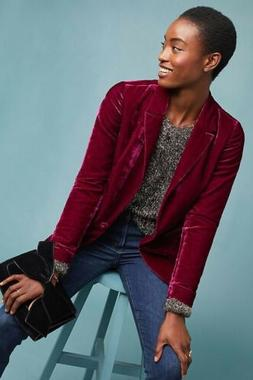 Anthropologie Ett:twa Sz: 10 Gallery Velvet Blazer Jacket Ne