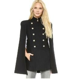 Autumn Womens Double Breated Military Wool Blend Cape Pea Co