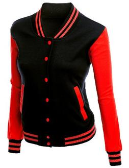 Stylish Color Contrast Long Sleeves Varsity Jacket Black Red