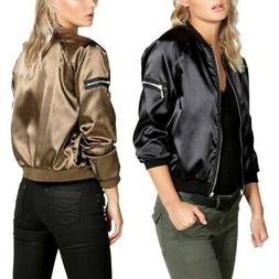 Black/Gold Womens Satin Bomber Jacket Long Sleeve Zipper Bas