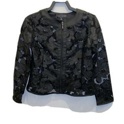 COLLEEN LOPEZ Black sheer floral lace zipper front  Leather