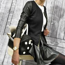 Black/White Womens Faux Leather Sleeve Zip-up Casual Jacket