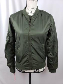 Xhilaration Bomber Jacket Zipper Pocket Military Green Women