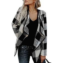 OUR WINGS Womens Casual Autumn Black White Buffalo Plaid Ope