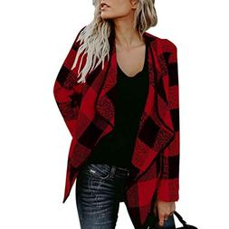 OUR WINGS Womens Casual Autumn Black Red Buffalo Plaid Open