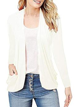 MIHOLL Women's Casual Cardigans Long Sleeve Open Front Top B