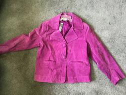 Chico's Suede Leather Jacket - Size 3  Front Purple Magenta