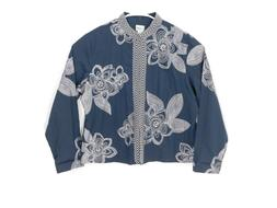Chico's Womens Embroidered Jacket Large Blue Flower Stitchin