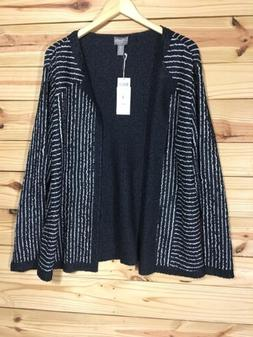 Chico's Travelers Women Jacket Cardigan Crushed Striped Bl