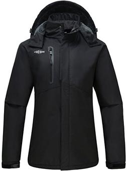Wantdo Women's Detachable Hood Waterproof Fleece Lined Parka