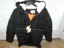 down puffer jacket womens large black hooded
