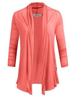NE PEOPLE Womens Draped Lightweight Flyaway Cardigan with Si