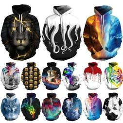 Fashion Men Women Hoodie Jacket Coat 3D Print Pocket Jumper