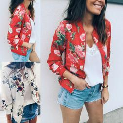 Fashion Women's Retro Floral Zipper Bomber Jacket Baseball C