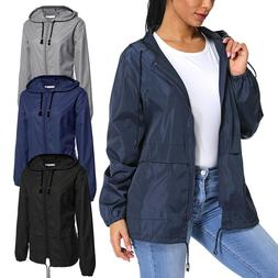 Fashion Women's Water Proof Zip Jacket Wind Breaker Coat Hoo