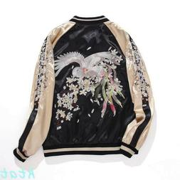 Fashion Womens Embroidered Two-In-One Reversible Bomber Jack