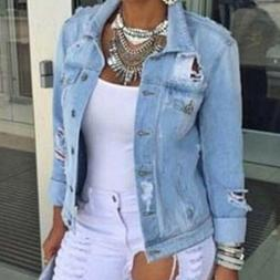 Fashion Womens Long Sleeve Coat Denim Loose Short Jean Jacke