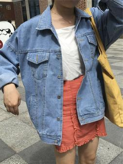 Fashion Womens Long Sleeve Coat Denim Outwear Loose Short Je