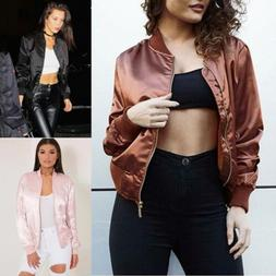 Fashion Womens Satin Bomber Jacket Classic Zip Up Biker Vint