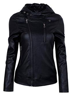 HRYfashion Womens Fashionable Zip-up Faux Leather Hoodie Jac