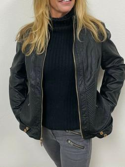 Lock and Love Faux  BLACK Leather MOTO  Jacket