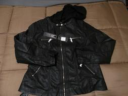 Lock & Love Faux Leather Jacket w/Removable Hood Black/Charc