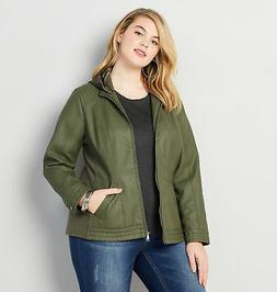 AVENUE Faux Leather Moto Jacket with Removable Hood Womens P