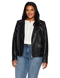 Levi's Size Women's Plus Faux Leather Studded Motorcycle Jac