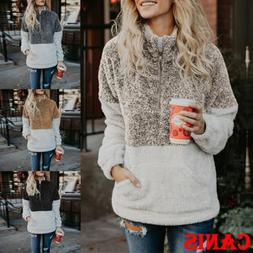 Fleece Fur Jacket Outerwear Tops Winter Warm Hooded Fluffy C