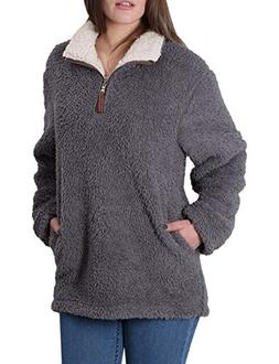 Fleece Sherpa Pullover Womens Sweatshirt Long Sleeve Soft Fu