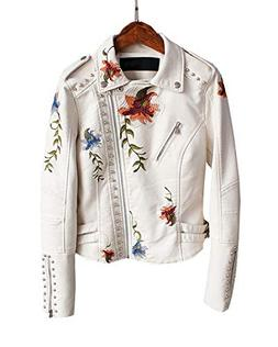 Fitaylor Women's Floral Embroidered Faux Leather Moto PU Jac