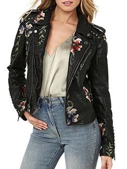 BerryGo Women's Floral Embroidered Faux Leather Moto Ja