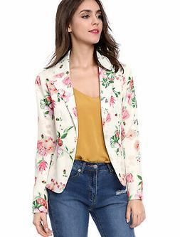Allegra K Women's Floral Print Notched Lapel Open Front Blaz