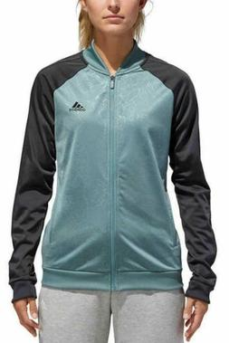 Adidas Full Zip Jacket Womens S Small Embossed Floral Green